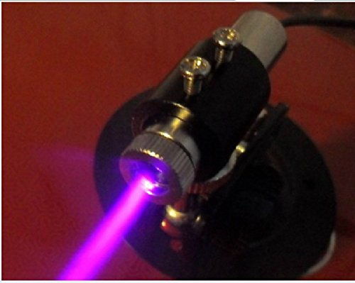 250mw 405nm 3~5V Blue/Violet Diode Laser Dot Module 12×45mm /Engrave + Holder + Adapter ()