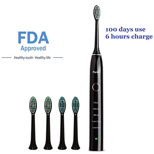 Sonic Electric Toothbrush Travel Rechargeable for Superior Dental Hygiene Daily Clean, Gum Care, Sensitive, Whitening, and Deep Clean Oral Health Micropulse Bristles with 4 Replacement Heads - - Dental Care Toothbrush