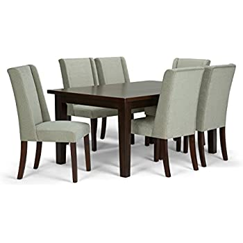 3c986c601d Simpli Home AXCDS7SB-MST Sotherby Contemporary 7 Piece Dining Set with 6  Upholstered Dining Chairs in Mist Fabric and 66 inch wide Table