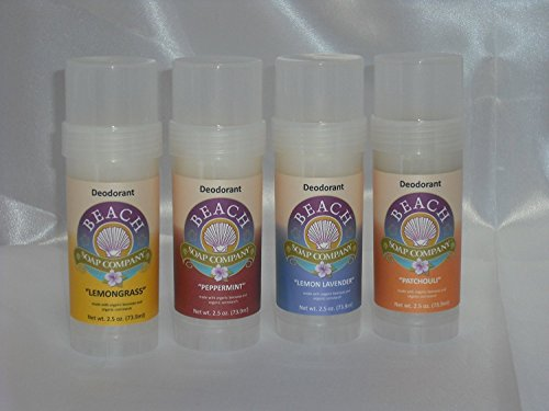 Peppermint Scent Certified Organic Deodorant - Aluminum, Talc, and Paraben Free. Made and sold by Beach Organics. 2.5 oz.