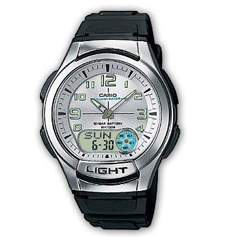 Casio AQ-180W-7BVEF - Reloj analógico y Digital de Cuarzo para Hombre con Correa de Resina, Color Negro: Amazon.es: Relojes