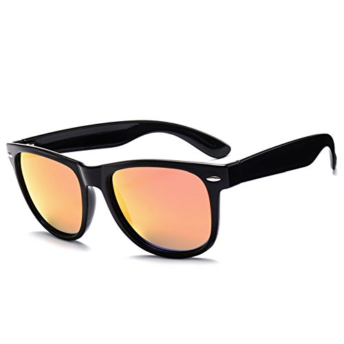 MRODM Wayfarer Sunglasses Unisex Polarized Mirror Lens UV Protection Black Large 55mm-Red - Can't See Through Sunglasses You