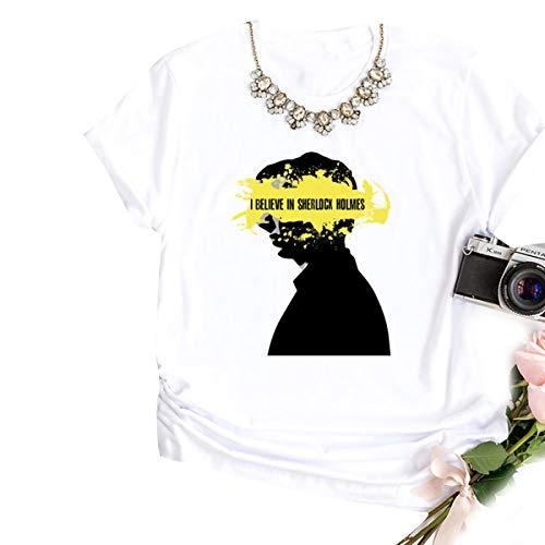 In Tees Holmes Sherlock O Donna White T Che Credo collo Print Manica shirt Corta 7q5wgtA