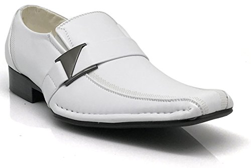 Stone Men's Dress Loafers Elastic Slip on with Buckle Fashion Shoes Runs Half Size Big (9, White)
