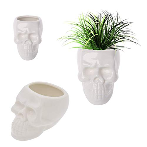 (Koreyoshi 2 Pcs Skull Pots White Ceramic Succulent Planter Pots/Mini Flower Plant Containers Cute Animal Shaped Cartoon Planter Pots Plant Window Boxes (Style)