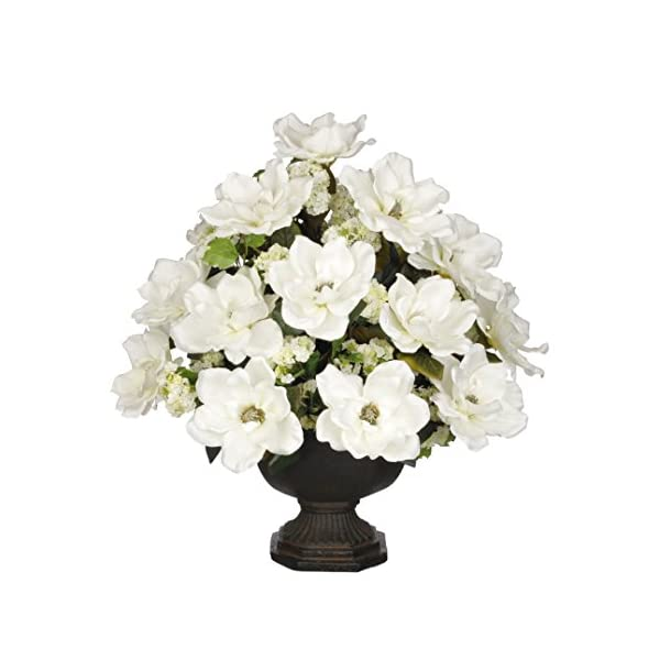 House of Silk Flowers Artificial White Magnolia with Snowball in Brown Garden Urn