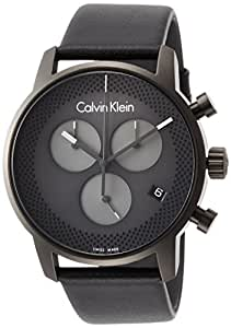 Calvin Klein Mens Quartz Watch, Analog Display and Leather Strap K2G177C3
