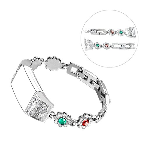 Band for Fitbit Charge 2,Women Bling Metal Replacement Silver Bracelet for Fitbit Charge 2,Wristband Stainless Steel with Rhinestone for Fitbit Charge 2