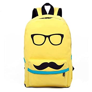 Amazon.com : Eyourlife Mustache and Glasses Canvas Campus Bag ...