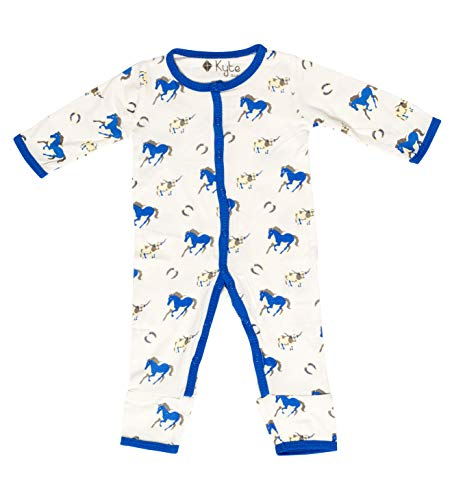 KYTE BABY Rompers - Baby Footless Coveralls Made of Soft Organic Bamboo Rayon Material - 0-24 Months - Printed Color (3-6 Months, Stampede) ()