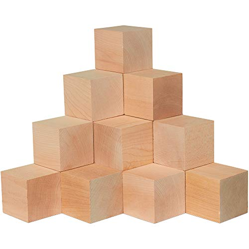 2.5 Inch Wooden Cubes, Bag 4 Unfinished Plain Wooden Square Blocks, Baby Shower Decorating Blocks, for Puzzle Making, Crafts, and DIY Projects.(2-1/2 Inch Wood Block) by Woodpeckers