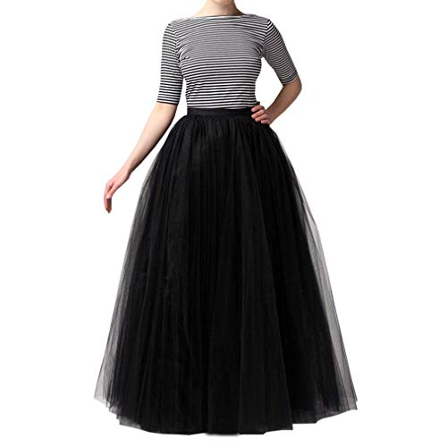 WDPL Bridal Women's Long Tulle Skirts Layered Puffy Full Length Tutu Petticoat Skirt (X-Small, Black)