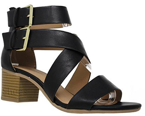 MVE Shoes Strappy Cutout Ankle Buckle Heeled Sandal, Black PU Size 8.5