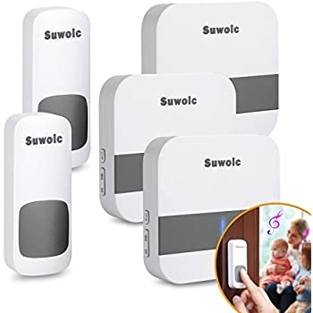 Suwoic Wireless Doorbell for Home with 2 Remote Button and 3 Plugin Receiver, Waterproof Transmitters, No Battery Required Receivers, 52 Chimes, 1000 Feet Operating