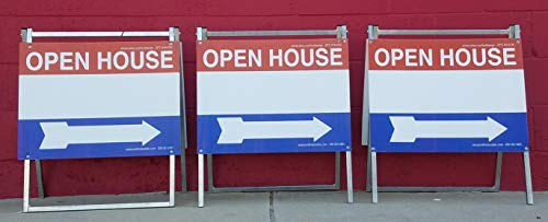 EZee Post Open House Signs 3-Pack Kit American Red/White/Blue