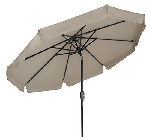 Trademark Innovations 8′ Tilt Crank Patio Umbrella with Scalloped Edge Top (Tan) Review