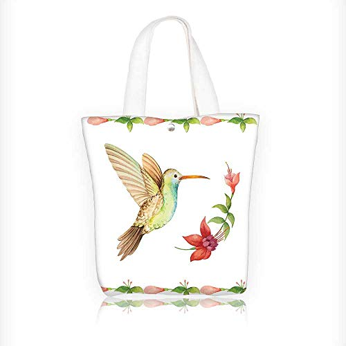 - Women's Canvas Tote Bag, Hummingbird ing over A Fuchsia Flower Stem Effect Art Print Caramel Green Ladies Top-handle Handbags, work school Shoulder Bag W11xH11xD3 INCH