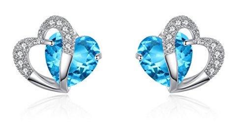 (2 Ct. Simulant Blue Aquamarine Double Heart Platinum Plating Heart Stud Earrings for Women Wife Mommy Sister Teacher for Anniversary Birthday Valentines Christmas Graduation Mother's Day)