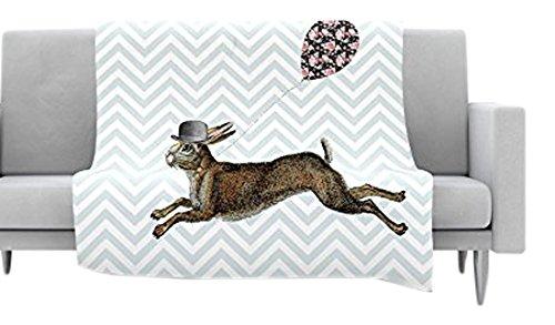 60 by 50 Kess InHouse Suzanne Carter Hare Today Rabbit Fleece Throw Blanket