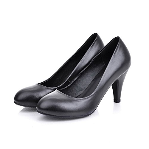 Toe Black Women's Soft Closed Material Tassels Pumps Shoes Solid with WeiPoot xXv46qx
