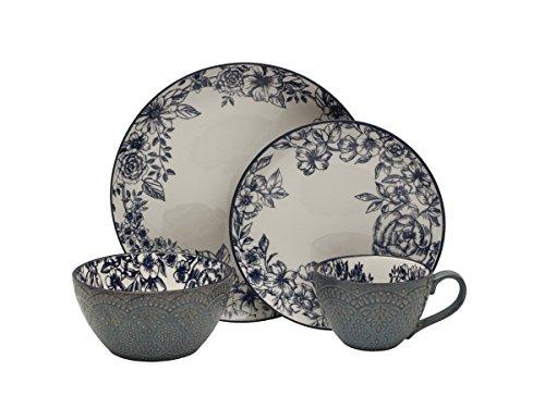 Pfaltzgraff Gabriela Blue 16-Piece Stoneware Dinnerware Set, Service for 4