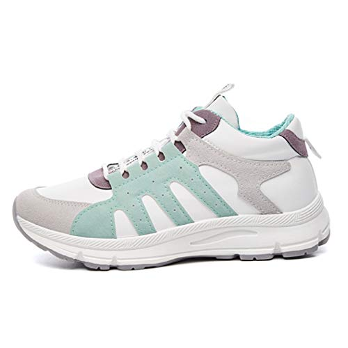 Womens Trendy Trainers Sneakers for Girls Lace Up Cozy Soft Bottom EVA Sole for Ladies Gym Jogging Shoes Green ()