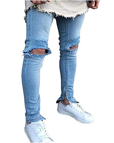 Casual Destroyed Ripped Haidean Denim Blau Trousers Pitches Jeans Long Modern R7vqaZ
