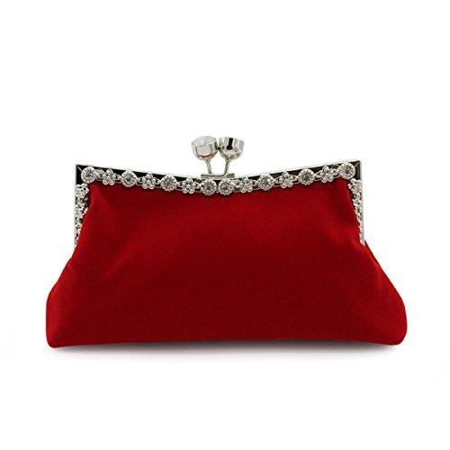 Flada flanelle sacs de soirée sac à main valises avec 2 Metal chaîne de mariage soirée embrayage pour les femmes noires Rouge