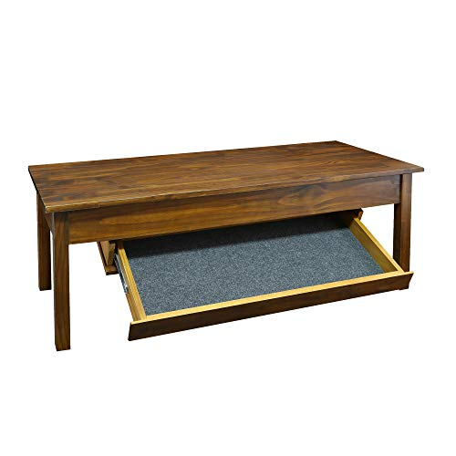 Casual Home 615-25 Kennedy Coffee Table  with Concealed Drawer, Concealment Furniture, Warm Brown