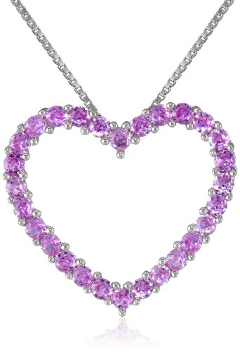 Sterling Silver and Created Pink Sapphire Heart Pendant Necklace, 18