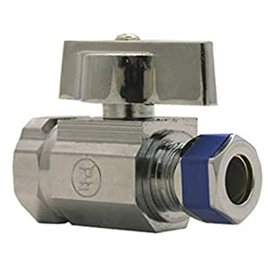 LASCO 06-9273 Straight Stop Quarter Turn Ball Valves, 1/2-Inch Iron Pipe Inlet X 3/8-Inch Compression Outlet, Chrome