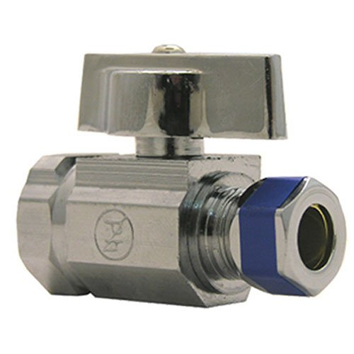 LASCO 06-9273 Straight Stop Quarter Turn Ball Valves, 1/2-Inch Iron Pipe Inlet X 3/8-Inch Compression Outlet, Chrome - Toilet Ball Valve