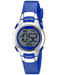 Armitron Sport Women's 45/7012BLU Silver-Tone Accented Digital Chronograph Blue Resin Strap Watch