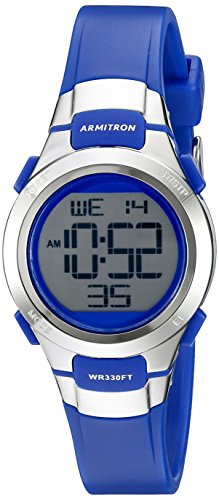 (Armitron Sport Women's 45/7012BLU Silver-Tone Accented Digital Chronograph Blue Resin Strap Watch)