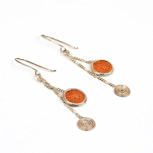 Fair Trade Sisal and Alloy Mini Classic Disk Bezel Earrrings w/Hanging Spiral, Orange, SJE58OR by Baskets of Africa