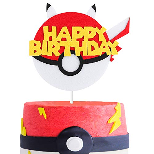 MALLMALL6 Cake Topper Video Game Party Cake Decoration Supplies Pikachu Inspired Birthday Baby Shower Cake Topper for Boy and -