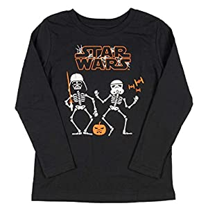 Star Wars Youth Boys' Skeleton Darth Vader and Stormtrooper Long Sleeve Halloween T-Shirt