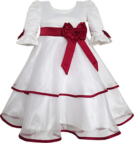 Sunny Fashion FP85 Girls Dress Red Rose Bow Tie Lace Formal Party Long Sleeve Size 8 ()