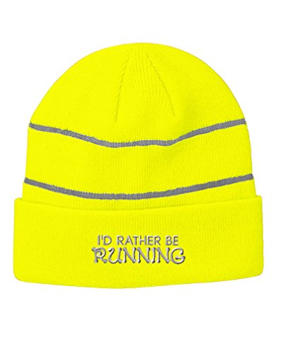 Speedy Pros I`D Rather Be Running Embroidered Unisex Adult Acrylic Reflective Stripes Beanie Winter Hat - Neon Yellow, One Size
