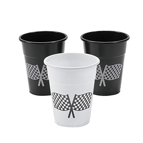 Fun Express - Checkered Flag Disposable Cups (50pc) for Party - Party Supplies - Drinkware - Disposable Cups - Party - 50 Pieces]()