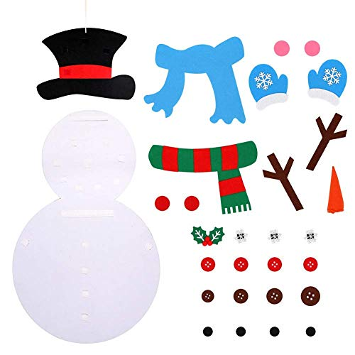 ASERTYL Christmas DIY Felt Snowman Kit Ornaments for Kid Xmas Gifts Wall Hanging Decor Kids Xmas Gifts Christmas Home -