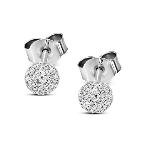Lab Grown Diamond Earrings IGI Certified 1/4 Carat Diamond Earrings For Women I1-H-I 925 Sterling Silver Halo Cluster Diamond Stud Earrings for Women Lab Created Diamond Jewelry