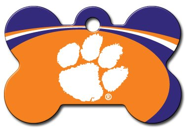 Personalized Tigers Football (Personalized Laser Engraved 1.5 x 1 inch Clemson Tigers Bone Shape Pet ID Tag - Free Tag Silencer)