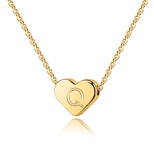 Letter Initial Necklace - 14K Gold Filled Heart Pendant Q Letter Necklace, Personalized Tiny Initial Letters Q Necklace for Women Kids Children, Heart Charm Love Necklace Jewelry Best Gift for ()