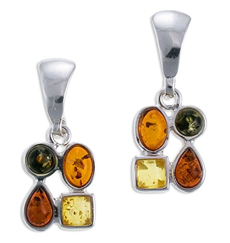 Silver Amber Earrings, Multicolor, Baltic Amber-Amber Mix (Amber Earrings Mix)