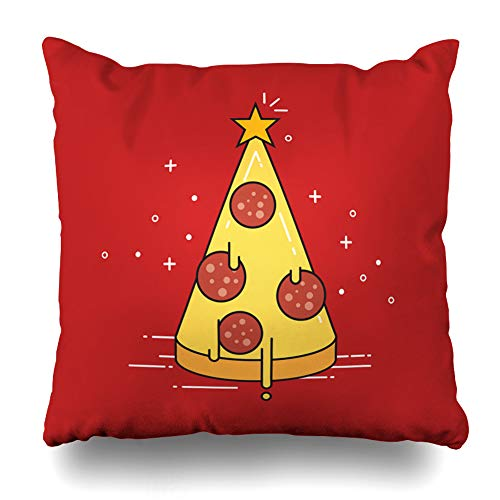 Pakaku Decorative Pillows Case Throw Pillows Covers for Couch Indoor Bed 18 x 18 InchPizza Christmas Tree Abstract Art Food Happy Holiday Home Sofa Cushion Cover Pillowcase Gift Bed Car Living Home