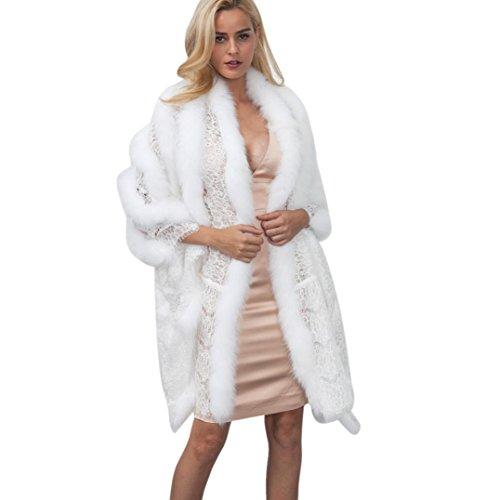 OverDose,Manteau Cape en Fausse Fourrure Femme Hiver Veste Parka Longue Outerwear Blanc