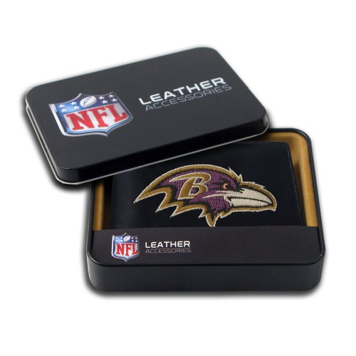 Baltimore Ravens Black Leather - Rico Industries NFL Baltimore Ravens Embroidered Genuine Cowhide Leather Billfold Wallet