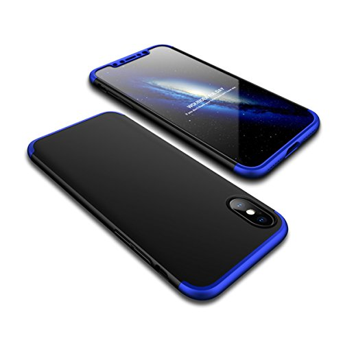 Coque iPhone X, Coque iPhone 10 360 Degree Antichoc Protection PC 3 en 1 Anti-Scratch Full Body Cover Adamark Housse Integrale Bumper Etui Case Protège Écran en Verre Trempé Pour iPhone X/10(2017) Bleu Noir