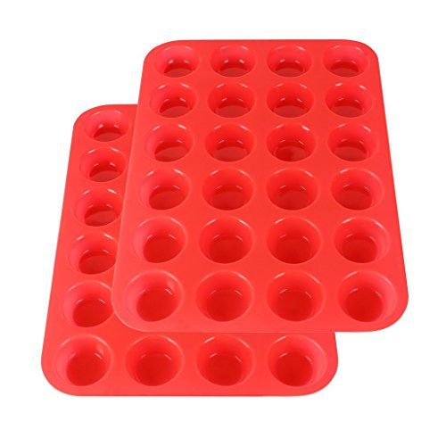 2Packs Silicone Mini Muffin Pan Silicone Cupcake Baking Cups, 24 Non Stick Silicone Molds for Muffin Tins(Red) by Suntake (Image #1)